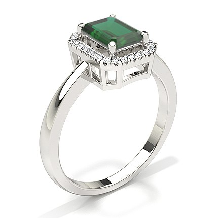 Emerald Halo Emerald Engagement Ring