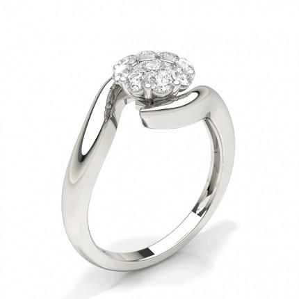 Gemeinsame Zinkeneinstellung Runder Diamantclusterring