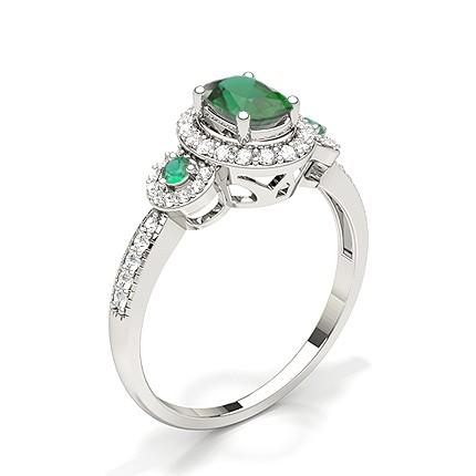 Zinkeneinstellung Ovaler Halo-Smaragd-Verlobungsring