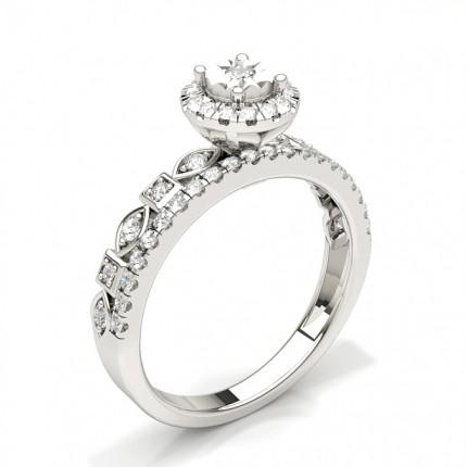 Micro Prong Einstellung Runde Diamant Braut Set Verlobungsring