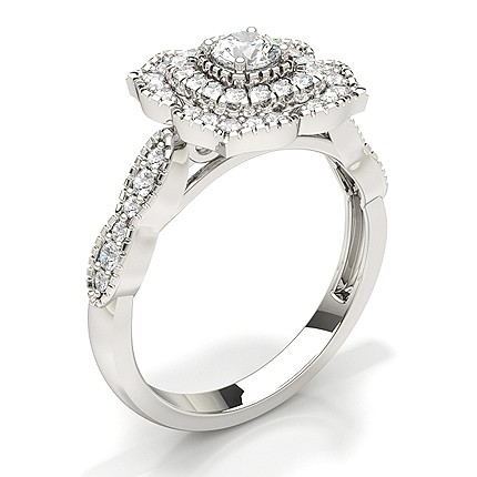 Teilen Einstellung Runde Diamant Braut Set Verlobungsring