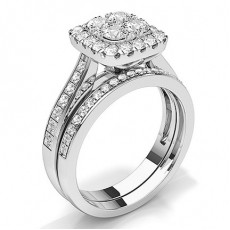 Micro Prong Setting Round Diamond Bridal Set Engagement Ring