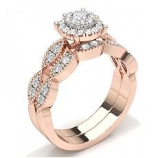 Rose Gold Bridal Set Diamond Engagement Rings