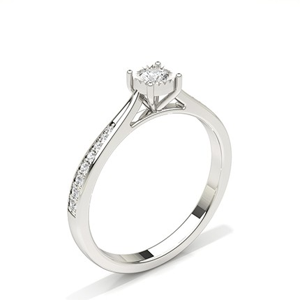 Illusion Plate Round Side Stone Diamond Engagement Ring