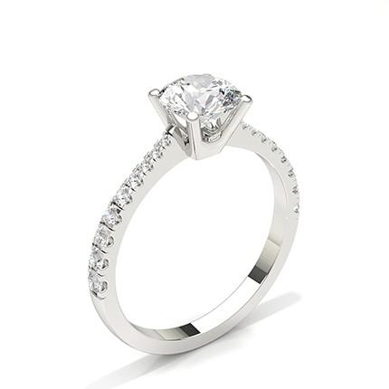 Bague de fiançailles diamant pierre ronde sertie griffes