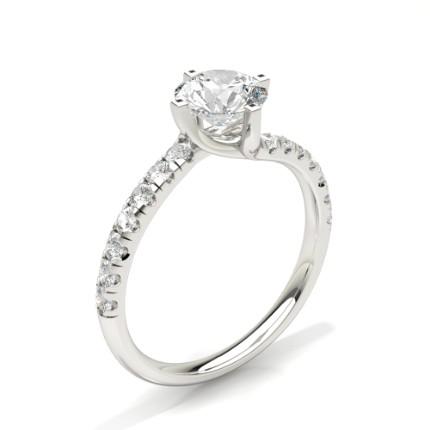 Prong Round Side Stone Diamond Engagement Ring