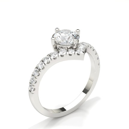 Prong Round Side Stone Diamond Engagement Ring