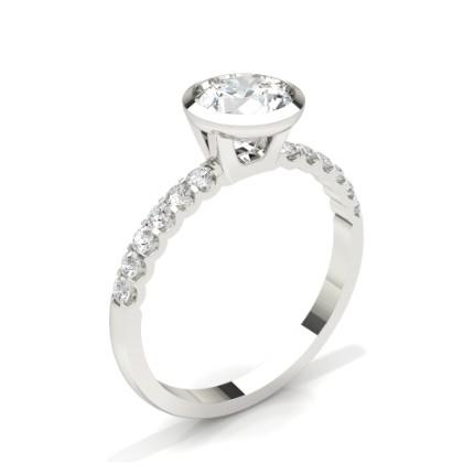 Lünette Set Runde Seite Stein Diamant Verlobungsring