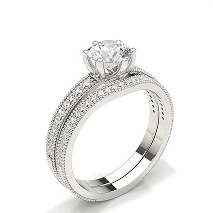 Weißgold Braut Set Diamant Verlobungsring