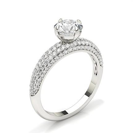 Zinken Set runde Seite Stein Diamant Verlobungsring