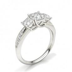 Asscher Diamond Rings Three Stone