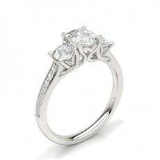 Cushion Trilogy Diamond Rings