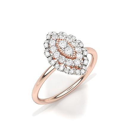 Bague en grappe de diamants ronds sertis griffes