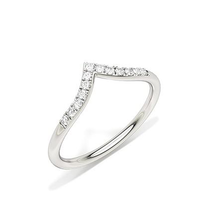 Prong Setting Diamond Shaped Wedding Band