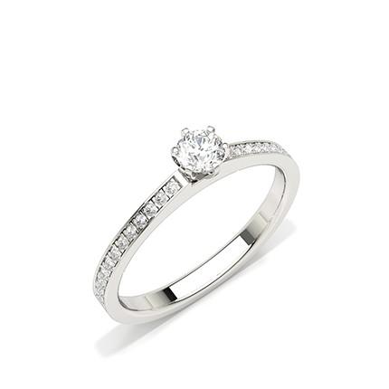 Zinkeneinstellung Seitenstein Diamant Verlobungsring