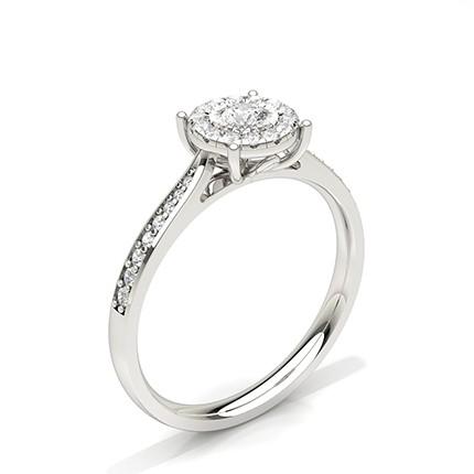Bague de fiançailles halo de diamants sertis plaque Miracle