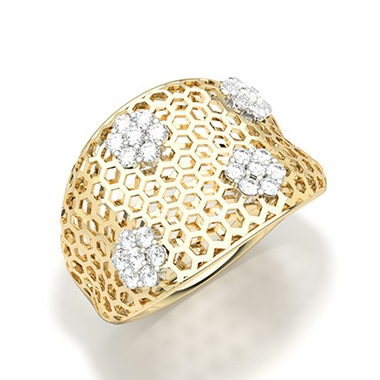 runder Diamant Statement Ring mit Zinken