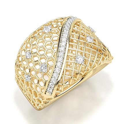 Prong Set Round Diamond Statement Ring