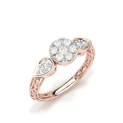 Pressure Set Round Diamond Cluster Ring