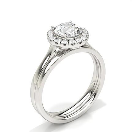Bague de fiançailles en or blanc sertie de diamants