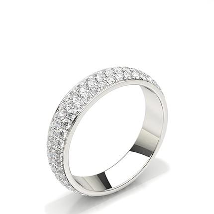 Bague d'éternité pleine diamant rond serti pavé