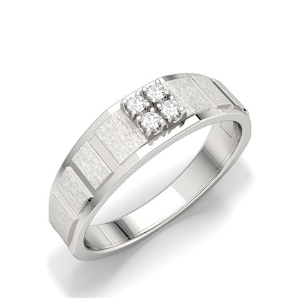 Channel Setting Round Diamond Mens Rings