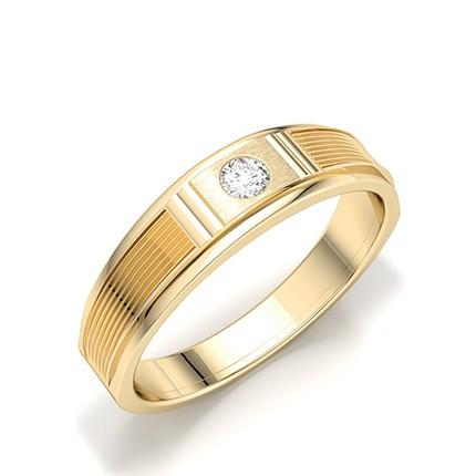 Bagues pour hommes avec diamant rond serti de canal