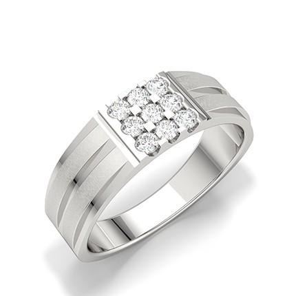 Bar & Prong Setting Round Diamond Mens Rings