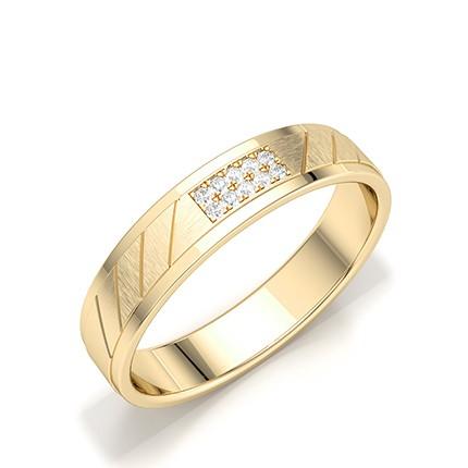 Bagues pour hommes en diamant rond serti micro pavé et micro griffe