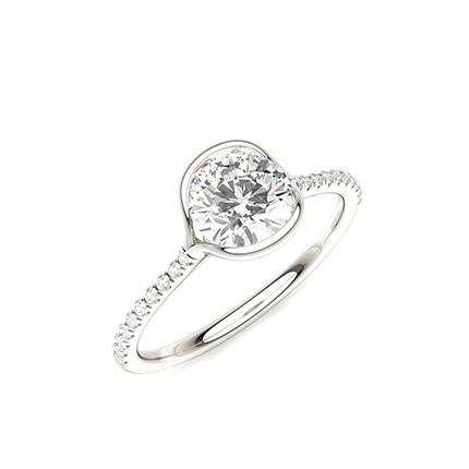 Half Bezel Set Round Side Stone Diamond Engagement Ring