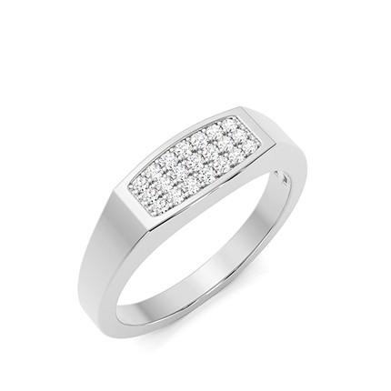 Pave Setting Round Diamond Mens Ring