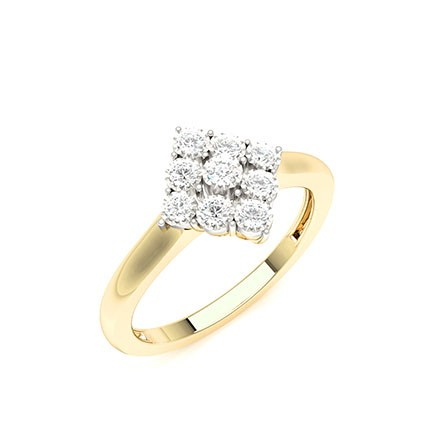 Illusion Plate Prong Setting Round Diamond Cluster Ring