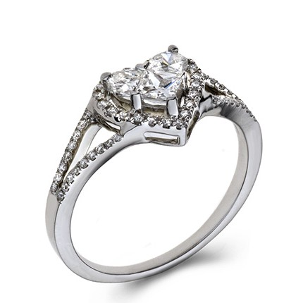 Illusion Cut Heart Shape Diamond Engagement Ring
