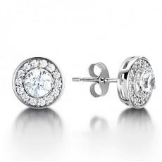 White Gold Round Diamond Halo Earrings - HMER078_01
