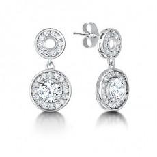 White Gold Round Diamond Halo Earrings - HMER080_01