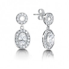 White Gold Oval Diamond Halo Earrings - HMER081_01
