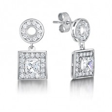 White Gold Princess Diamond Halo Earrings - HMER082_01