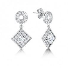 White Gold Princess Diamond Halo Earrings - HMER083_01