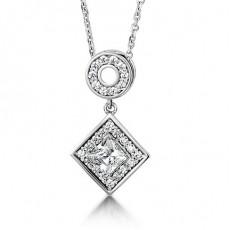 Pendentif halo diamant princesse/rond serti 4 griffes et pavé - HMTP171_01