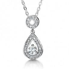 Pendentif halo diamant rond serti 3 griffes et pavé - HMTP177_01