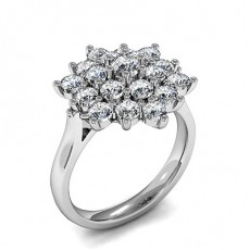 Prong Setting Round Diamond Cluster Ring - HMTR113_01