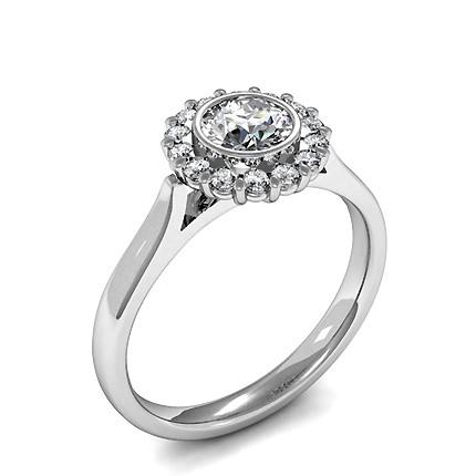 Full Bezel & Prong Setting Round Diamond Cluster Ring