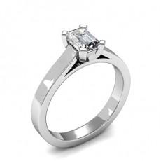 4 Prong Setting Emerald Diamond Plain Engagement Ring - HMSR538_01