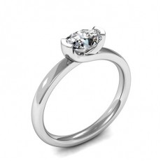 Semi-Bezel Setting Oval Diamond Plain Engagement Ring - HMSR551_01
