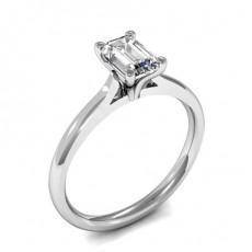 4 Prong Setting Emerald Diamond Plain Engagement Ring - HMSR670_01