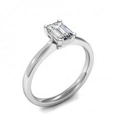 4 Prong Setting Emerald Diamond Plain Engagement Ring - HMSR752_01