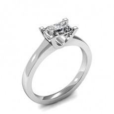 Bague de fiançailles solitaire diamant emeraude serti 4 griffes