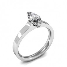Marquise White Gold Solitaire Diamond Rings