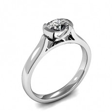Semi-Bezel Setting Oval Diamond Plain Engagement Ring - HMSR929_01