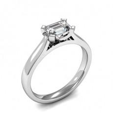 4 Prong Setting Emerald Diamond Plain Engagement Ring - HMSR931_01